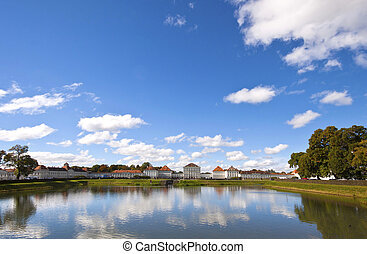 Wide angle view of Nymphenburg Castle, Munich - Wide angle...