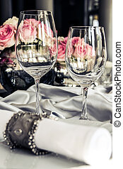 Glasses very nicely decorated table - A very nicely...