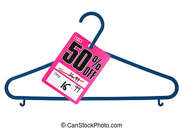 Plastic hanger with sale tag, isolated on white background