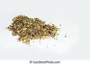 pilha, secado, orégano, folhas