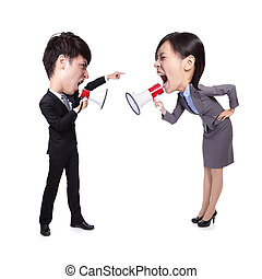 business Man and woman shouting to each other through...