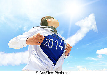 Welcome 2014 New year concept - Business man pulling his...