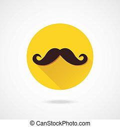 vector, bigote, icono
