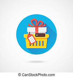 Vector Shopping Cart with Gift and Tag Icon