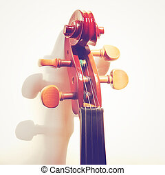 Details of violin head with retro filter effect