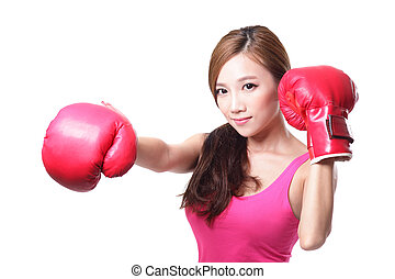 sport young woman with boxing gloves