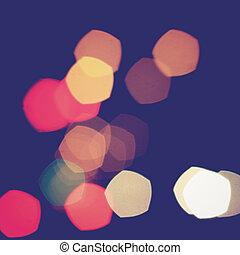 Colorful pentagon bokeh light vintage background