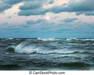 Stormy sea with beautiful moon