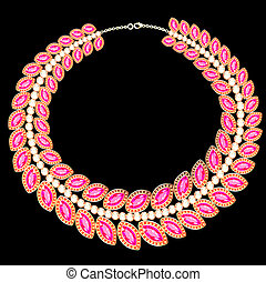 woman's necklace with pink jewels on black