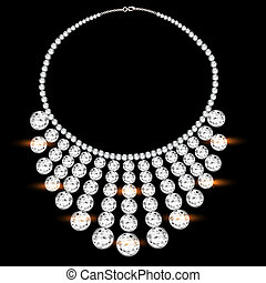 womans necklace with precious stones on black - illustration...
