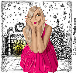 Vector Surprised Blonde in Pink Dress - Christmas...