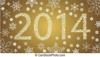 Happy New Year 2014 From Stars With White Snowflakes. Vector