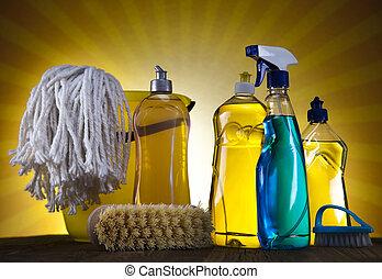 limpieza, productos, sol