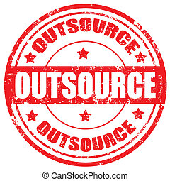Outsource-stamp - Grunge rubber stamp with word...