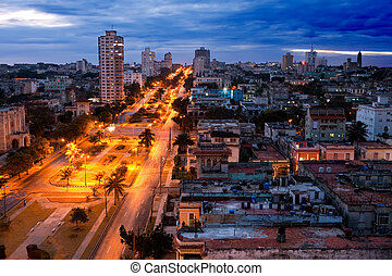 Cuba. Night Havana. The top view on the avenue Presidents....