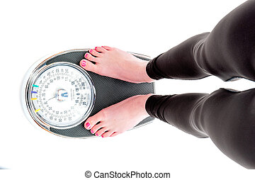 Standing on a weigh scale on a white background