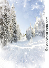 Christmas background with snowy fir trees - Christmas...