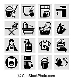 vector cleaning icons - Elegant Vector Black Cleaning Icons...