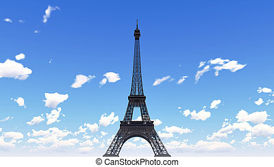 Eiffel Tower in Paris - The Eiffel Tower pictured against...