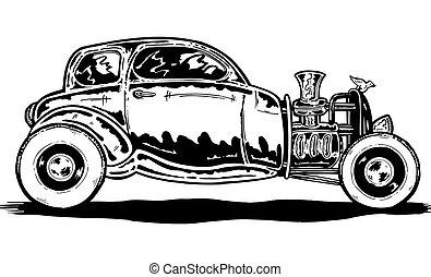 Vintage style Hotrod car illustration - Vintage style hand...