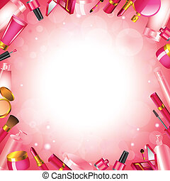 Cosmetics frame vector background - Cosmetics frame shiny...