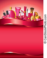 Cosmetics vertical vector background with devider