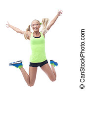 Happy blonde jumping in studio, isolated on white background