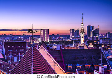 Tallinn Estonia Skyline - Skyline of Tallinn, Estonia after...