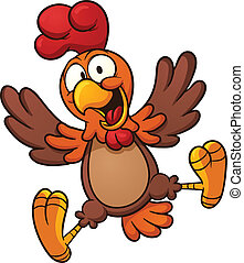Happy chicken - Happy cartoon chicken. Vector clip art...
