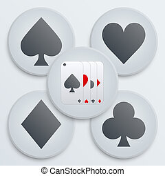 Casino simple icon card suits - Simple Icons set of four...