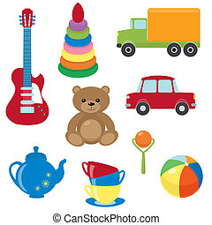 Set of vector toys - Collection of colorful vector toys