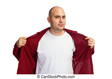 White shirt - Man opening his red shirt to show his white...