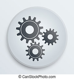 Vector simple icon with technology gears symbol - The symbol...