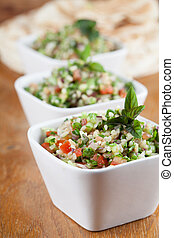 Tabbouleh - Gourmet Middle Eastern salad Tabbouleh in white...