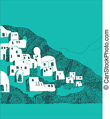 Santorini island, Greece illustration