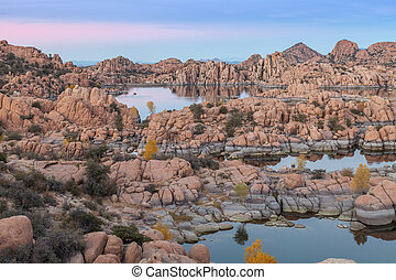 Evening at Watson Lake - scenic landscape of watson lake...