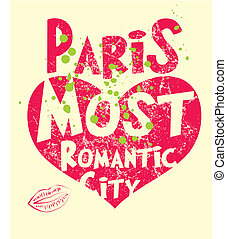 paris city slogan vector art