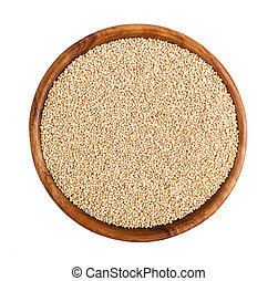 Quinoa seeds - Top view of wooden bowl full of Quinoa seeds