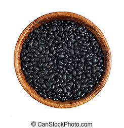 Black beans - Top view of wooden bowl full of black beans