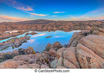 Watson Lake Sunset - scenic watson lake prescott arizona...