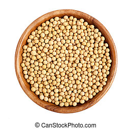 Soybeans - Wooden bowl full of soybeans