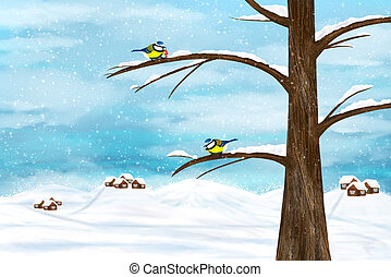 Chickadee birds in winter - Black capped Chickadee birds on...