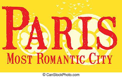 paris city slogan vector art