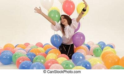 Birthday baloons - Birthday girl among colorful baloons