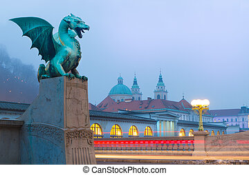Dragon bridge (Zmajski most), Ljubljana, Slovenia. - Famous...