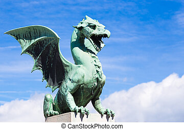 Dragon bridge, Ljubljana, Slovenia - Famous Dragon bridge...