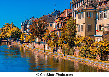 Sunny autumn day in Strasbourg France