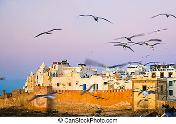 Panoramic view of Essaouira, Morocco, north Africa. -...