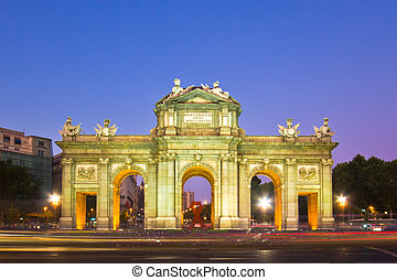 Puerta de Alcala, Madrid, Spain - Traffic at the circular...