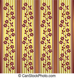 Red and golden floral stripes background vector